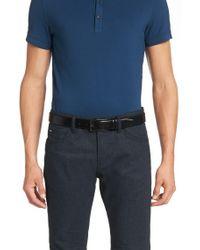 BOSS - Blue 'carmello'   Shiny Leather Belt for Men - Lyst