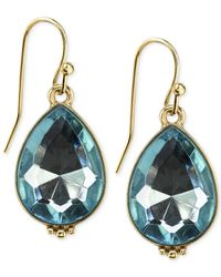 2028 | Blue Gold-Tone Aquamarine Crystal Teardrop Earrings | Lyst