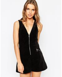 ASOS | Black Cord Playsuit With Zip Ring Pull | Lyst