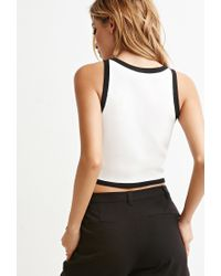 Forever 21 - Natural Contrast-trimmed Cropped Tank - Lyst