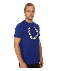 Fred Perry - Blue Laurel Print T-shirt for Men - Lyst