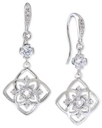 Carolee | Metallic Silver-tone Crystal Flower Teardrop Earrings | Lyst
