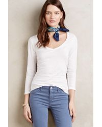 Velvet By Graham & Spencer - White Sheer V-neck Tee - Lyst