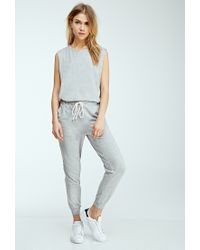 Forever 21 | Gray Heathered Knit Drawstring Jumpsuit | Lyst