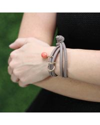 Mizuki - Gray Coral And Diamond Cross Wrap Bracelet/choker - Lyst