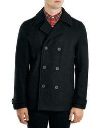 TOPMAN - Black Double Breasted Wool Blend Peacoat for Men - Lyst