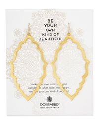 Dogeared - Metallic Gold-dipped Be Your Own Kind Of Beautiful Moroccan Earrings - Lyst