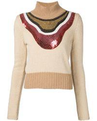 Giambattista Valli - Brown Sequin Embellished Sweater - Lyst