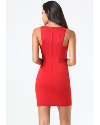 Bebe | Red Mesh Inset Ponte Dress | Lyst