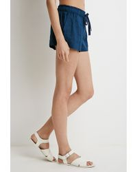 Forever 21 | Blue Linen Drawstring Shorts | Lyst