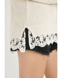Forever 21 | Natural Scalloped Lace-hem Sweater You've Been Added To The Waitlist | Lyst