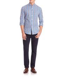 Vince Camuto | Blue Plaid Cotton Sportshirt for Men | Lyst