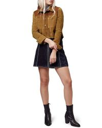 TOPSHOP - Brown Colorblock Suede Shirt - Lyst