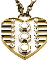 Lanvin | Metallic Heart Print Necklace | Lyst