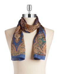 Lauren by Ralph Lauren | Brown Printed Silk Scarf | Lyst