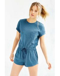 BDG | Blue Melinda Knit Drawstring Romper | Lyst