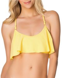 Jessica Simpson | Yellow Crochet-Back Flounce Swim Bra | Lyst