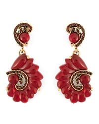 Oscar de la Renta | Red Scalloped Swirl Clip-On Earrings | Lyst