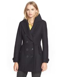 Burberry Brit - Blue 'dillsmead' Double Breasted Skirted Wool Blend Coat - Lyst