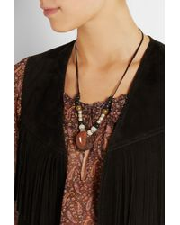 Saint Laurent | Brown Patti Beaded Suede Necklace | Lyst
