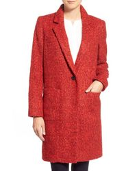 Zac Zac Posen | Red 'giselle' One-button Reefer Coat | Lyst