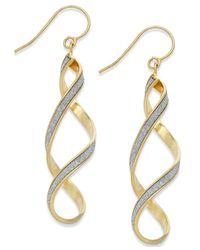 Macy's | Metallic Glitter Twist Drop Earrings In 14k Gold | Lyst