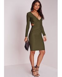 Missguided - Natural Cut Out Bodycon Dress Khaki - Lyst