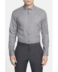 Calibrate | Gray Trim Fit Gingham Sport Shirt for Men | Lyst