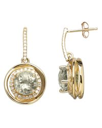 Lord & Taylor | 14k Yellow Gold Green Amethyst And Diamond Earrings | Lyst