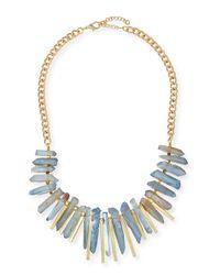 Panacea | Blue Aquamarine Stick Bib Necklace | Lyst