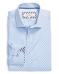 1 Like No Other | Blue Trim Fit Dot Dress Shirt for Men | Lyst