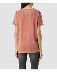 AllSaints | Pink Heny Devo Tee | Lyst