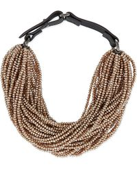 Brunello Cucinelli | Metallic Multi Strand Necklace - For Women | Lyst