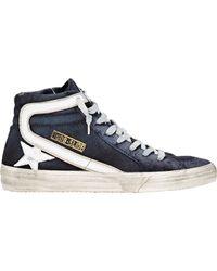 Golden Goose Deluxe Brand - Blue Distressed Slide Sneakers for Men - Lyst