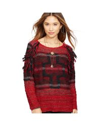 Denim & Supply Ralph Lauren - Red Fringed Wool-blend Sweater - Lyst