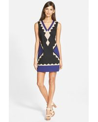 Plenty by Tracy Reese | Black Tricolor Shift Dress | Lyst