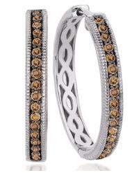 Le Vian | Brown Chocolate Diamond Hoop Earrings (5/8 Ct. T.w.) In 14k White Gold | Lyst