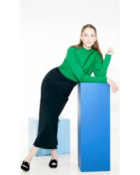 Tibi Green Structured Mock Neck Cropped Pullover