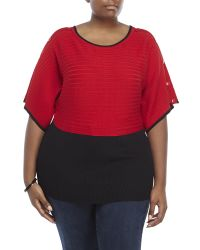 Joseph A | Red Plus Size Button Detail Poncho Top | Lyst