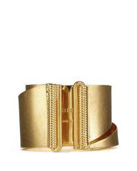 Alexander McQueen | Metallic Slant Cuff | Lyst