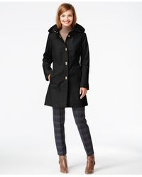 Jones New York | Black Hooded Turn-lock Raincoat | Lyst