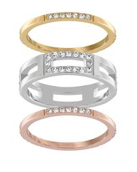 Swarovski | Multicolor Crystal Cubist Three-tone Ring Set | Lyst