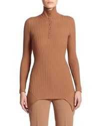 Stella McCartney | Brown Snap Rib-knit Turtleneck Sweater | Lyst