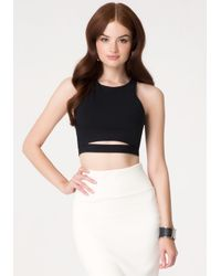 Bebe | Black Slit Front Crop Top | Lyst