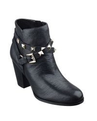 Guess | Black Fran Studded Leather Ankle Boots | Lyst
