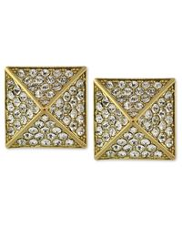 Vince Camuto - Metallic Gold-tone Glass Pave Pyramid Stud Earrings - Lyst