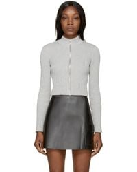 T By Alexander Wang | Gray Grey Cropped Ribbed Cardigan | Lyst
