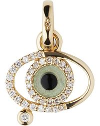 Links of London - Green Evil Eye 18ct Gold And Diamonds Charm - For Women - Lyst