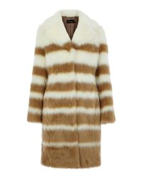 Karen Millen | Brown Striped Faux Fur Coat | Lyst