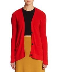 A.L.C.   Red Phillip Ribbed Cardigan Sweater   Lyst